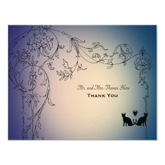 Garden Cats Thank You Personalized with envelopes 4.25x5.5 Paper Invitation Card
