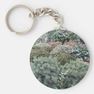Garden centre with selection of nursery plants keychain