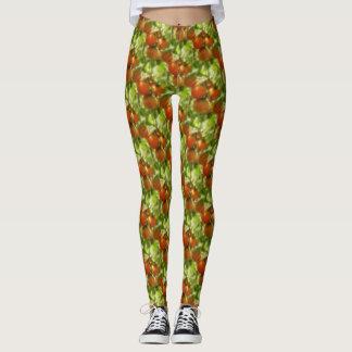 Garden Cherry Tomatoes Nature Pattern Leggings