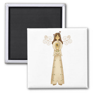 Garden Collection · Angel with Flower 2 Inch Square Magnet