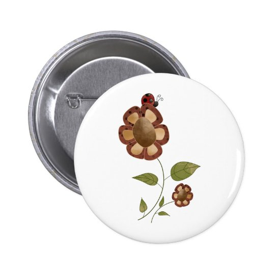 Garden Collection · Flower with Ladybug Pinback Button