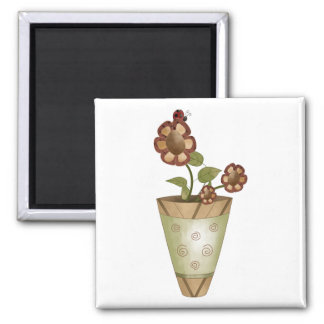 Garden Collection · Potted Flowers with Ladybug 2 Inch Square Magnet