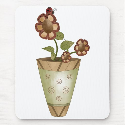 Garden Collection · Potted Flowers with Ladybug Mouse Pad