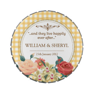 Garden Country Chic Wedding Gingham Jelly Belly Candy Tins