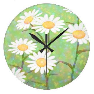 Garden Daisies Bokeh Dots Large Clock