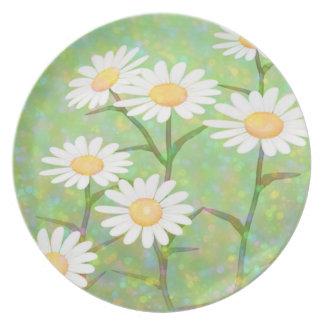 Garden Daisies Bokeh Dots Melamine Plate