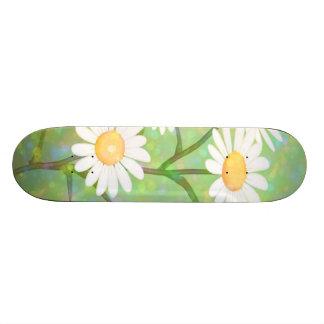 Garden Daisies Bokeh Dots Skateboard Deck