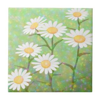 Garden Daisies Bokeh Dots Small Square Tile