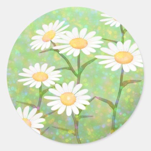 Garden Daisies Bokeh Dots Stickers