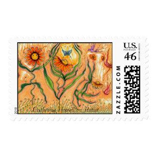 """Garden Dance"" Postage Stamps"