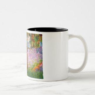 Garden - Dark Red Poodle #1 Two-Tone Coffee Mug