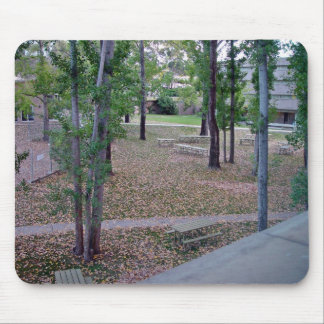 Garden decorated with fallen leaves mouse pad
