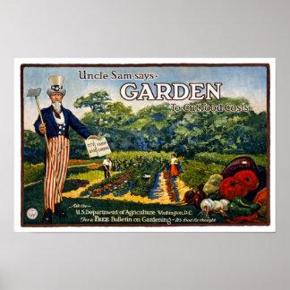 Garden del tío Sam, 1917. Publicidad del vintage Póster