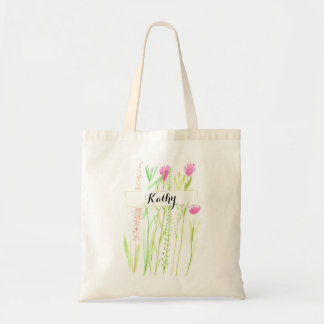 Garden Design Tote With Personalized Name.