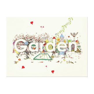 Garden detailed funny creative text art canvas stretched canvas prints