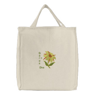 Garden Diva - Yellow Flower Embroidered Tote Bags