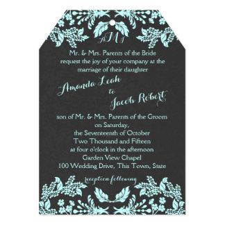 Garden Enchantment Aqua Blue and Slate 5x7 Paper Invitation Card