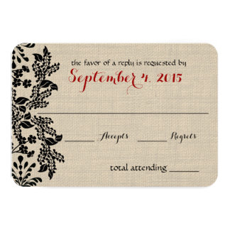 Garden Enchantment Black and Burlap Response Card