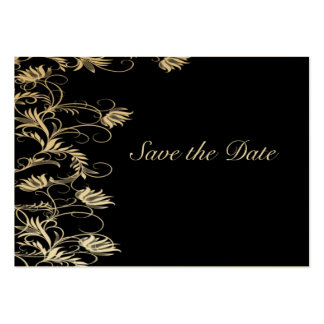 Garden Essence Black And Gold Save The Date Large Business Cards (Pack Of 100)