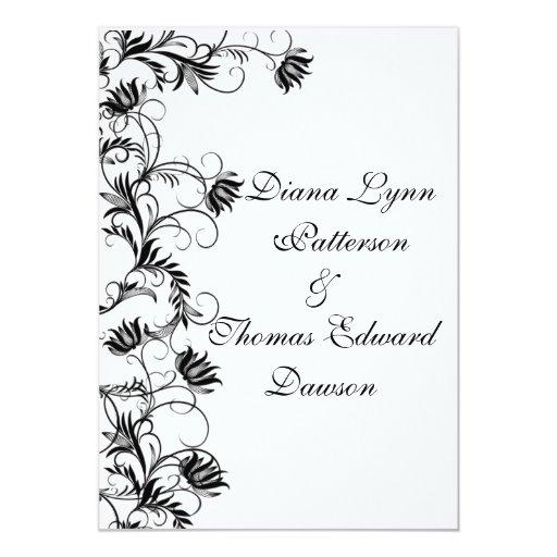 Garden Essence Black And White Wedding Invitation