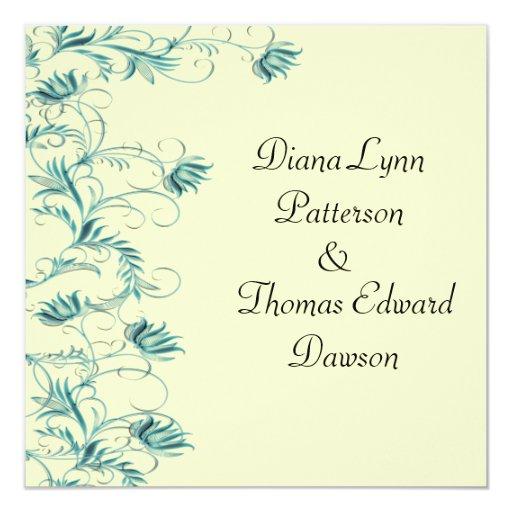 """Garden Essence Black And White Wedding Invites 5.25"""" Square Invitation Card"""