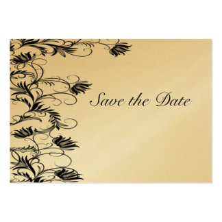 Garden Essence Gold And Black Save The Date Cards Large Business Cards (Pack Of 100)