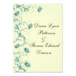 "Garden Essence Yellow And Teal Wedding Invitation 5"" X 7"" Invitation Card"