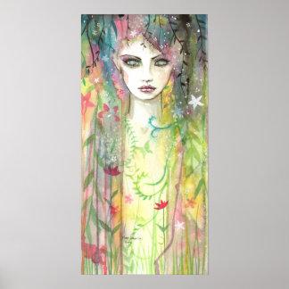 Garden Faerie Woman Abstract Pop Art Poster
