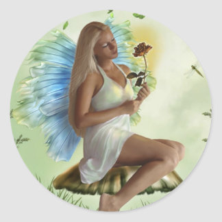 Garden Faery (Stickers) Classic Round Sticker