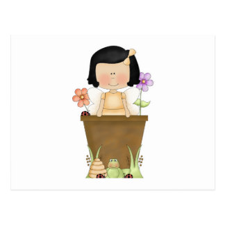 Garden Fairy in Flower Pot Postcard