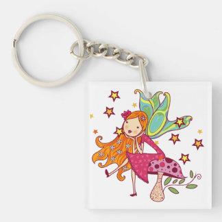 Garden Fairy on Mushroom Keychain