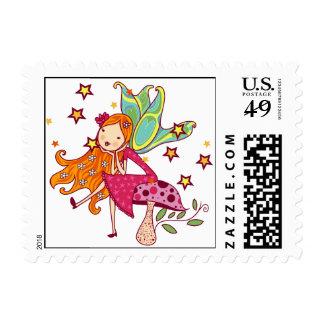 Garden Fairy on Mushroom Postage Stamp