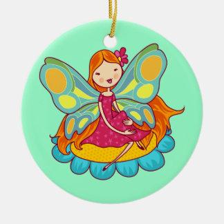 Garden Fairy Double-Sided Ceramic Round Christmas Ornament