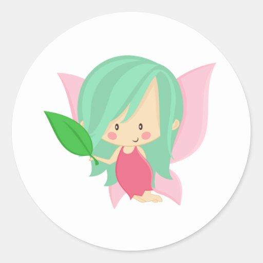 Garden Fairy- Seafoam and Pink Classic Round Sticker