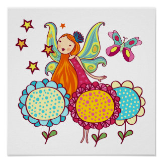 Garden Fairy With Flowers Poster
