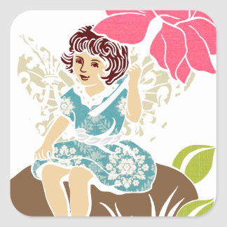 Garden Fairy with Rose Square Stickers