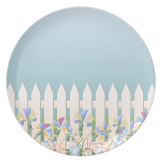 Garden Fence and Flowers Dining Plate