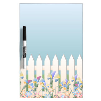 Garden Fence and Flowers Dry-Erase Board