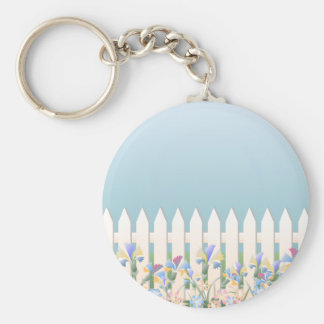Garden Fence and Flowers Keychain
