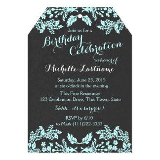 Garden Floral Aqua Blue and Slate 5x7 Paper Invitation Card