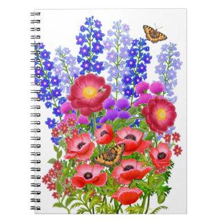 Garden Floral Bouquet with Butterflies Notebook
