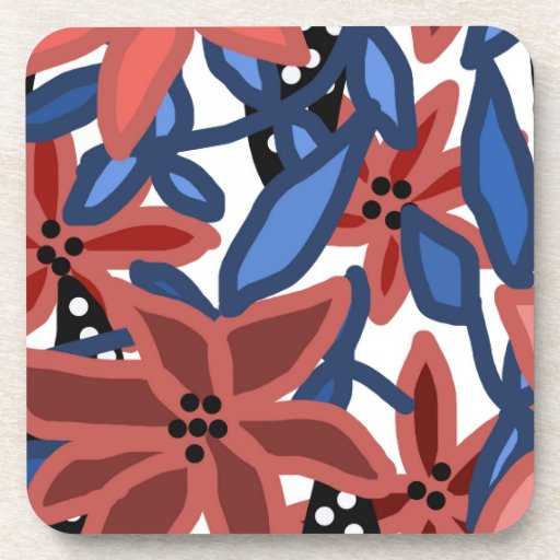 Garden Floral Tropical Design by © Cathy Thompson Beverage Coaster