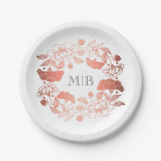 Garden Floral Wreath Elegant Rose Gold and White Paper Plate