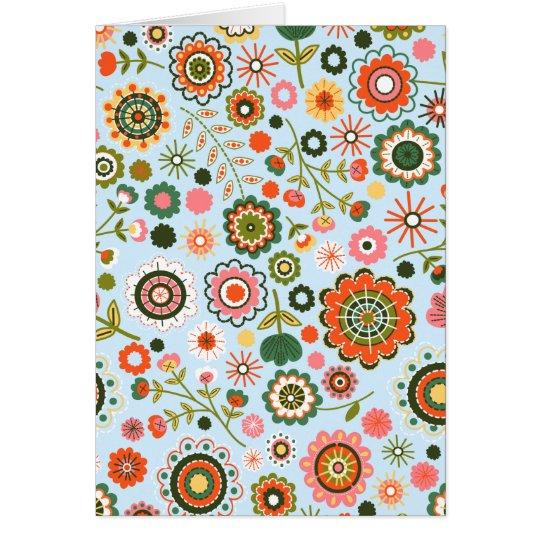 Garden flower drawings card