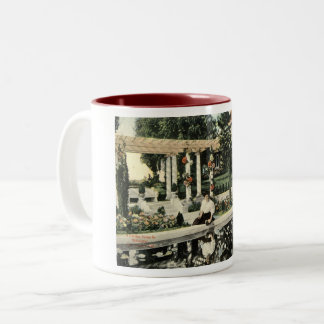 Garden Flower Scene, Los Angeles 1914 Vintage Two-Tone Coffee Mug