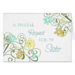 Garden Flower Sister Maid of Honor Invitation Card