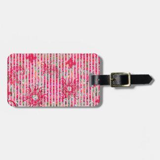 garden flower summer pink fragtual stripes luggage tag