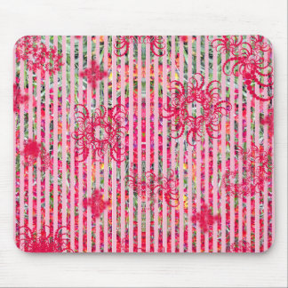 garden flower summer pink fragtual stripes mouse pad