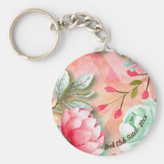 Garden Flower Watercolor Book Club Sister Keychain