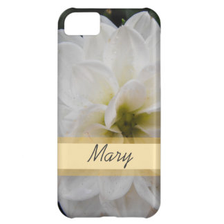 Garden flower with name , white dahlia iPhone 5C cover